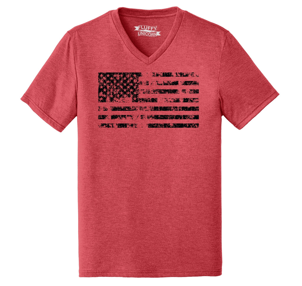 Distressed American Flag Patriotic July 4th Shirt Mens Tri-Blend V-Neck Tee Shirt