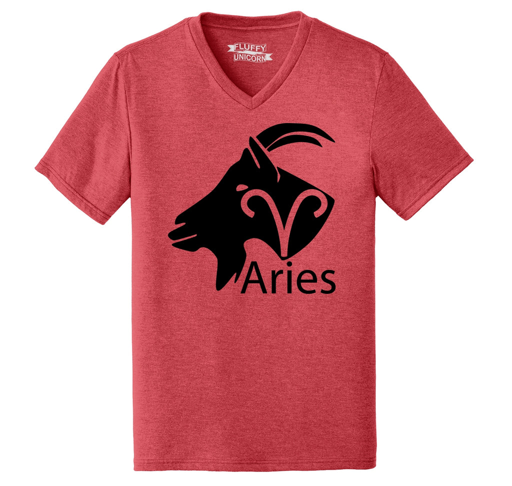 Aries Horoscope Shirt, March April Birthday Gift Tee Mens Tri-Blend V-Neck Tee Shirt