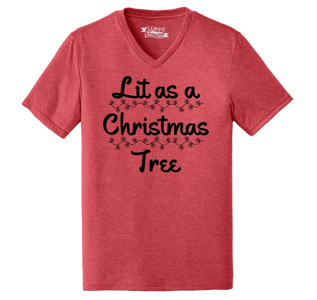 Lit As A Christmas Tree Mens Tri-Blend V-Neck Tee Shirt