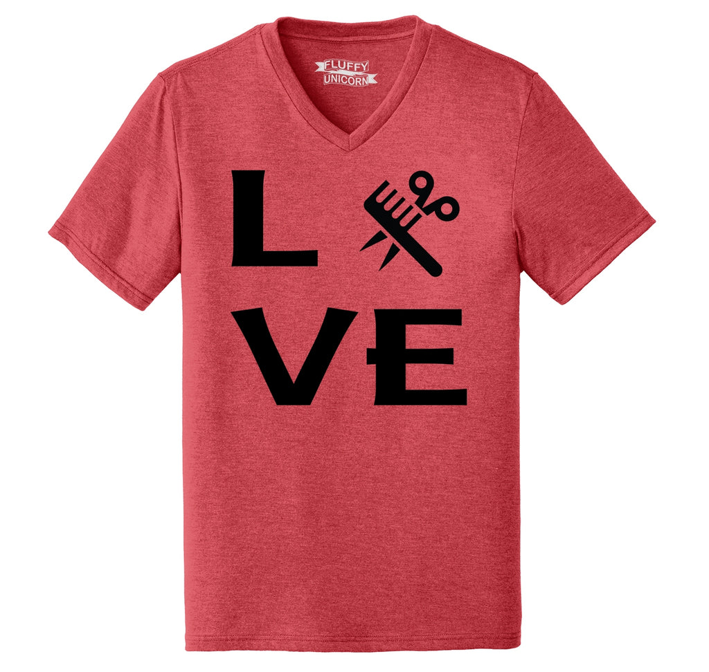 Love Hairstylist Cute Barber Gift Tee Mens Tri-Blend V-Neck Tee Shirt