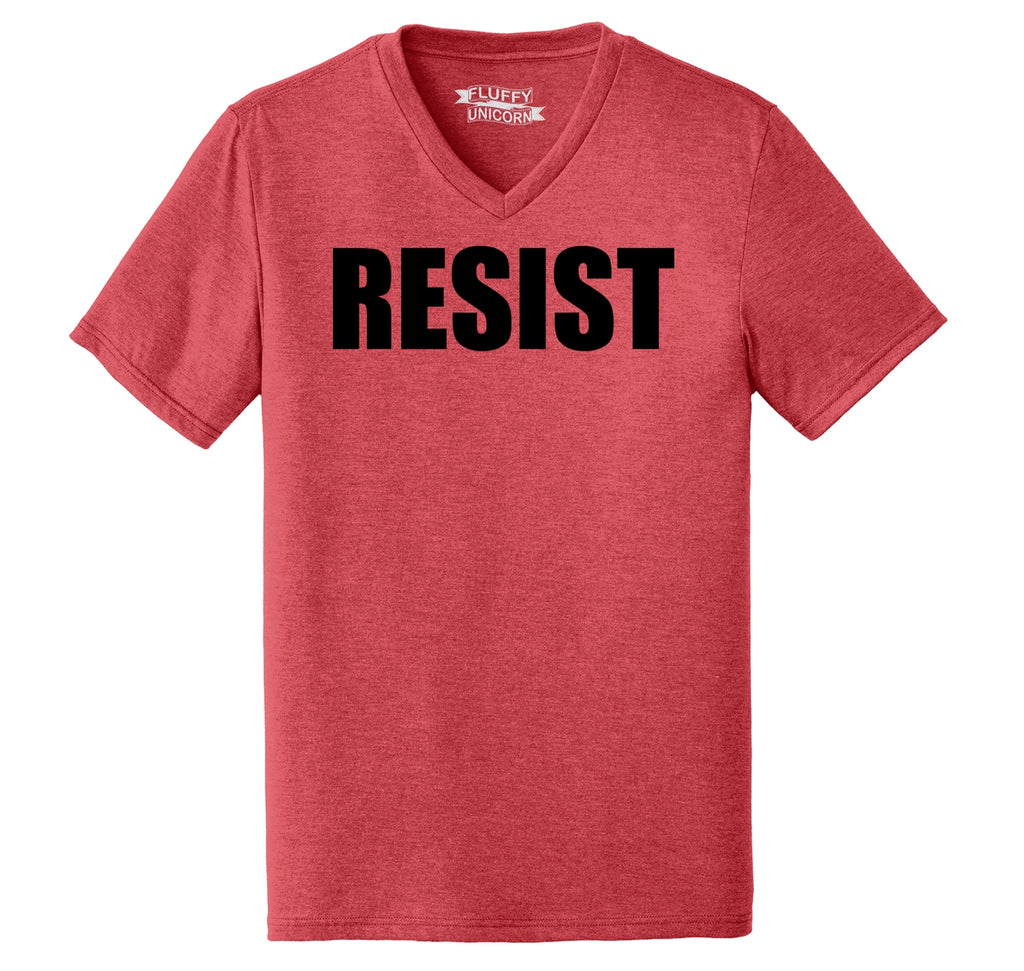 Resist Tee Anti Donald Trump Political Protest Trump Rally Tee Mens Tri-Blend V-Neck Tee Shirt