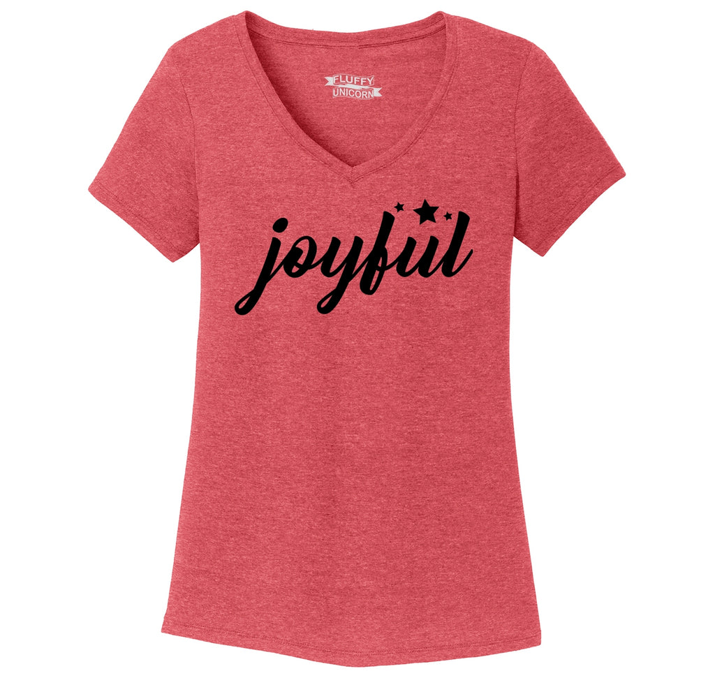 Joyful Ladies Tri-Blend V-Neck Tee Shirt
