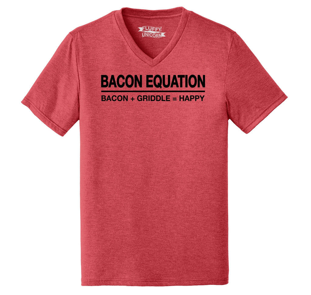 Bacon Equation Equals Happy Mens Tri-Blend V-Neck Tee Shirt