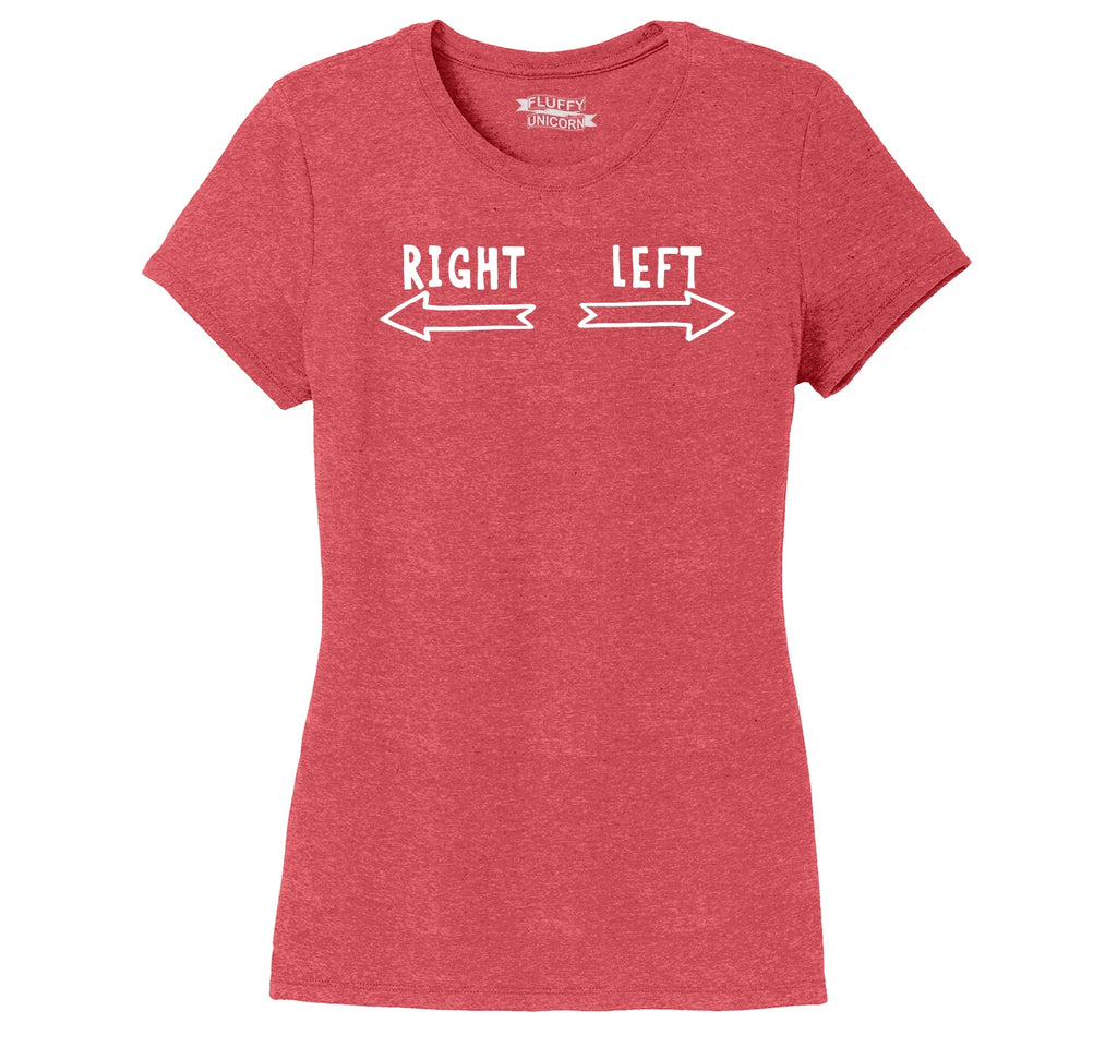 This Is Right This Is Left Ladies Short Sleeve Tri-Blend Shirt