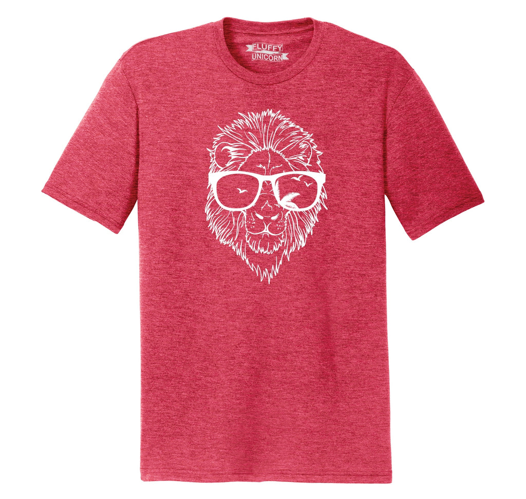 Lion Face With Sunglasses Graphic Tee Mens Short Sleeve Tri-Blend Shirt