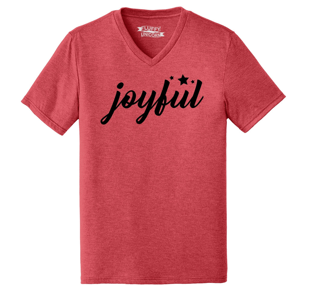 Joyful Mens Tri-Blend V-Neck Tee Shirt