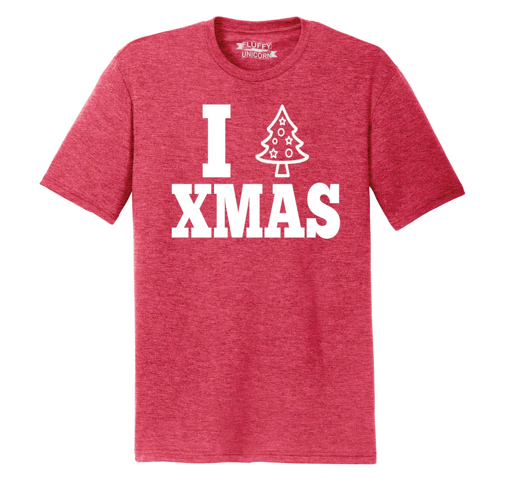 I Love Xmas Tee Christmas Party Tree Graphic Tee Mens Short Sleeve Tri-Blend Shirt
