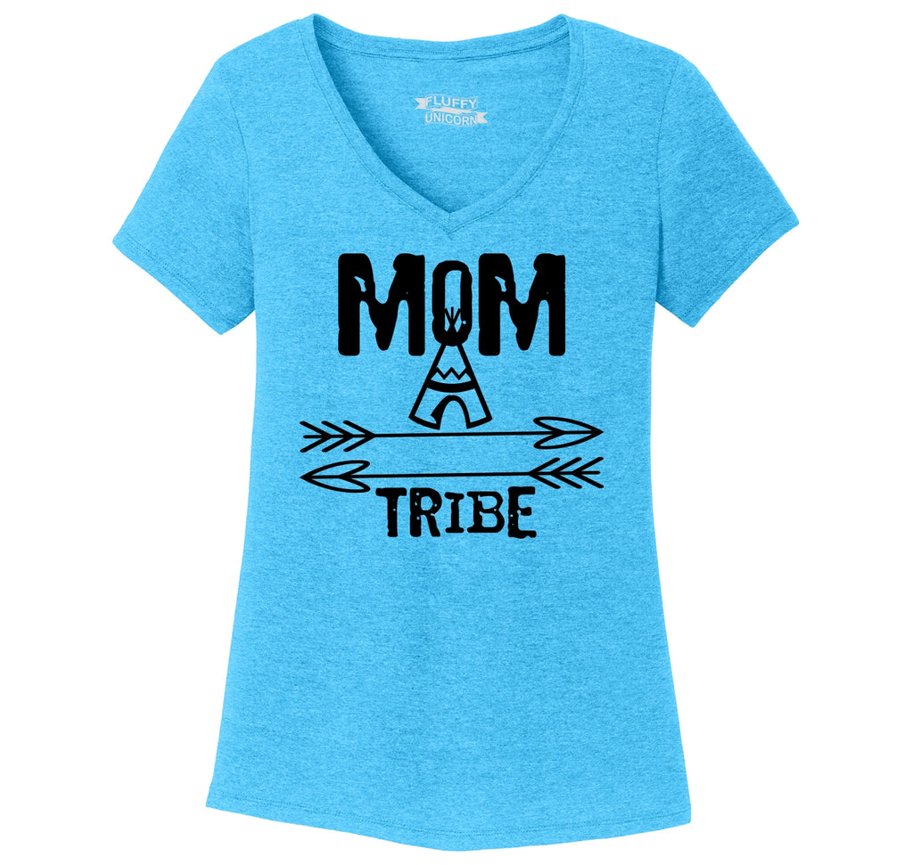 Mom Tribe Mother's Day Ladies Tri-Blend V-Neck Tee Shirt