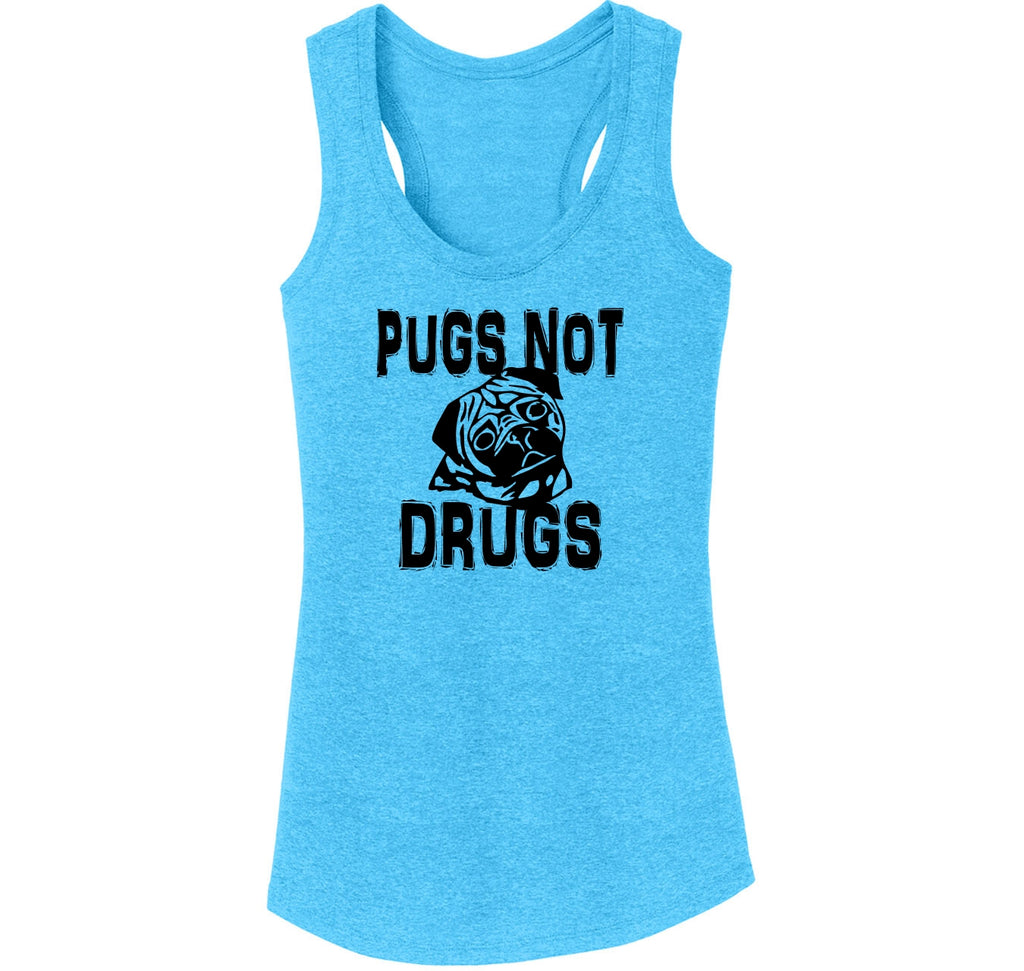 Pugs Not Drugs Funny Dog Lover Pug Lover Shirt Ladies Tri-Blend Racerback Tank Top