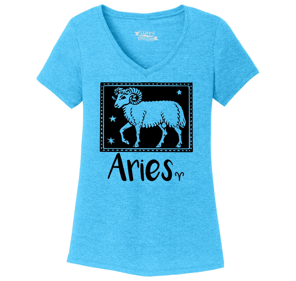 Horoscope Aries Tee Ladies Tri-Blend V-Neck Tee Shirt