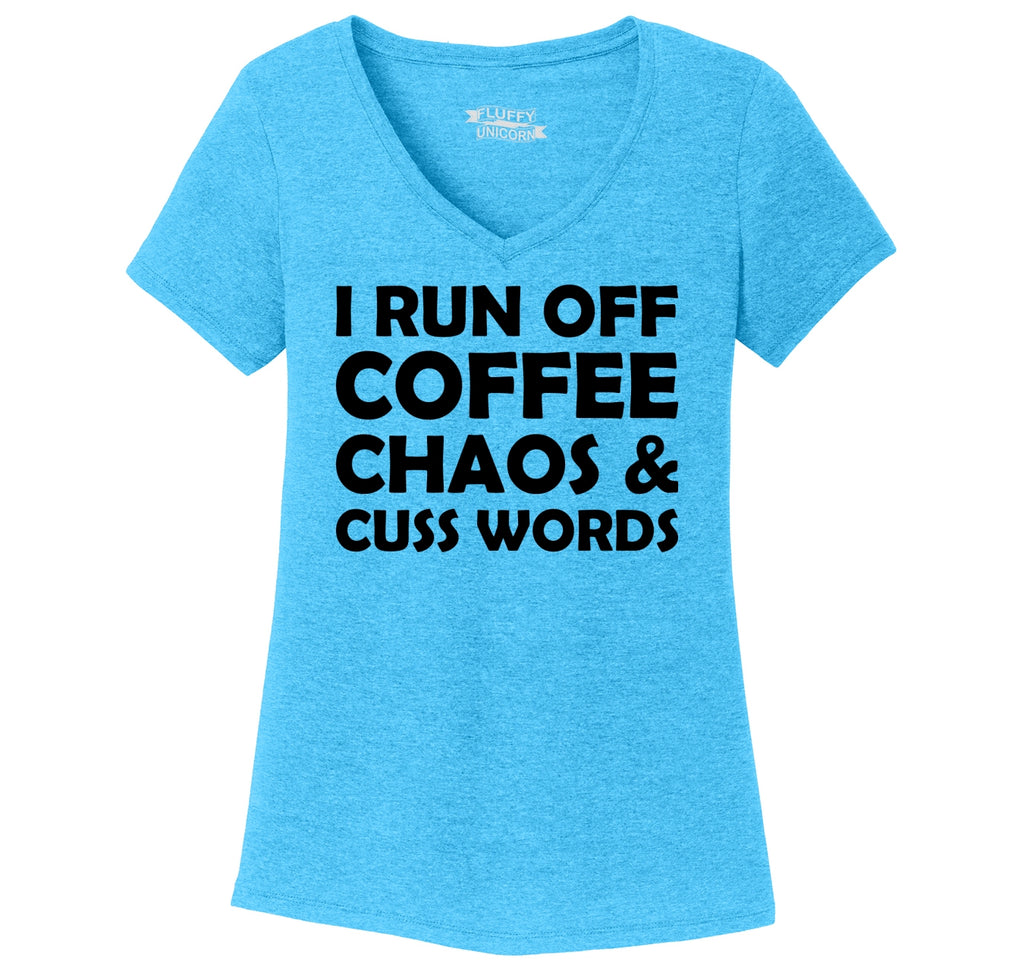 Coffee Chaos and Cuss Words Funny Party Tee Ladies Tri-Blend V-Neck Tee Shirt