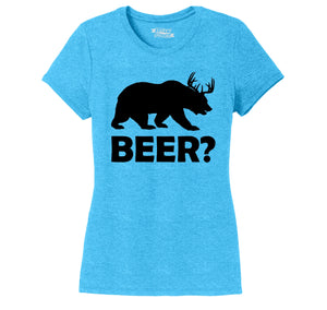 Bear Deer Beer Ladies Short Sleeve Tri-Blend Shirt