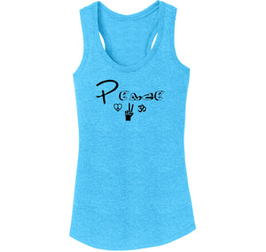 Peace Graphic Tee Ladies Tri-Blend Racerback Tank Top