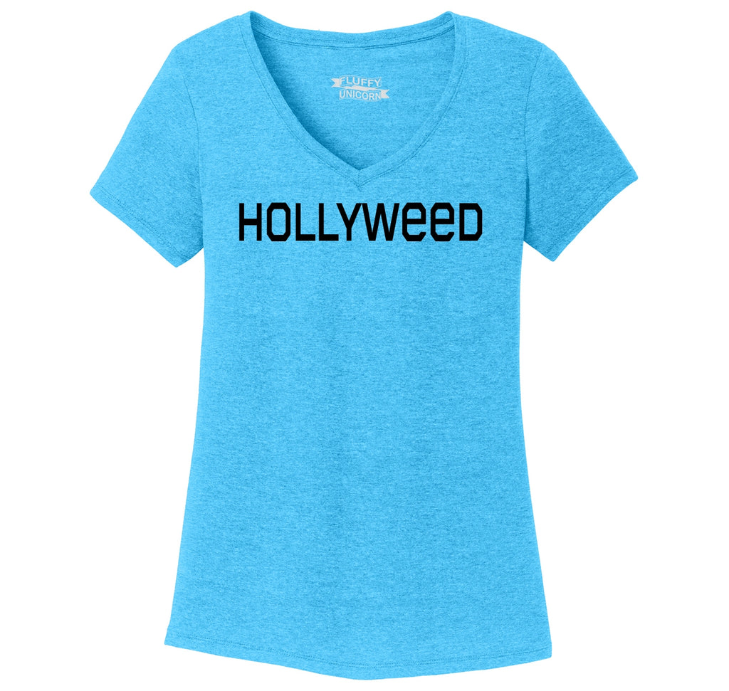 Hollyweed Funny Tee CA LA Hollywood Sign News Weed Stoner Cali Gift Tee Ladies Tri-Blend V-Neck Tee Shirt