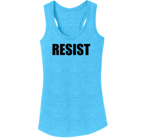 Resist Tee Anti Donald Trump Political Protest Trump Rally Tee Ladies Tri-Blend Racerback Tank Top