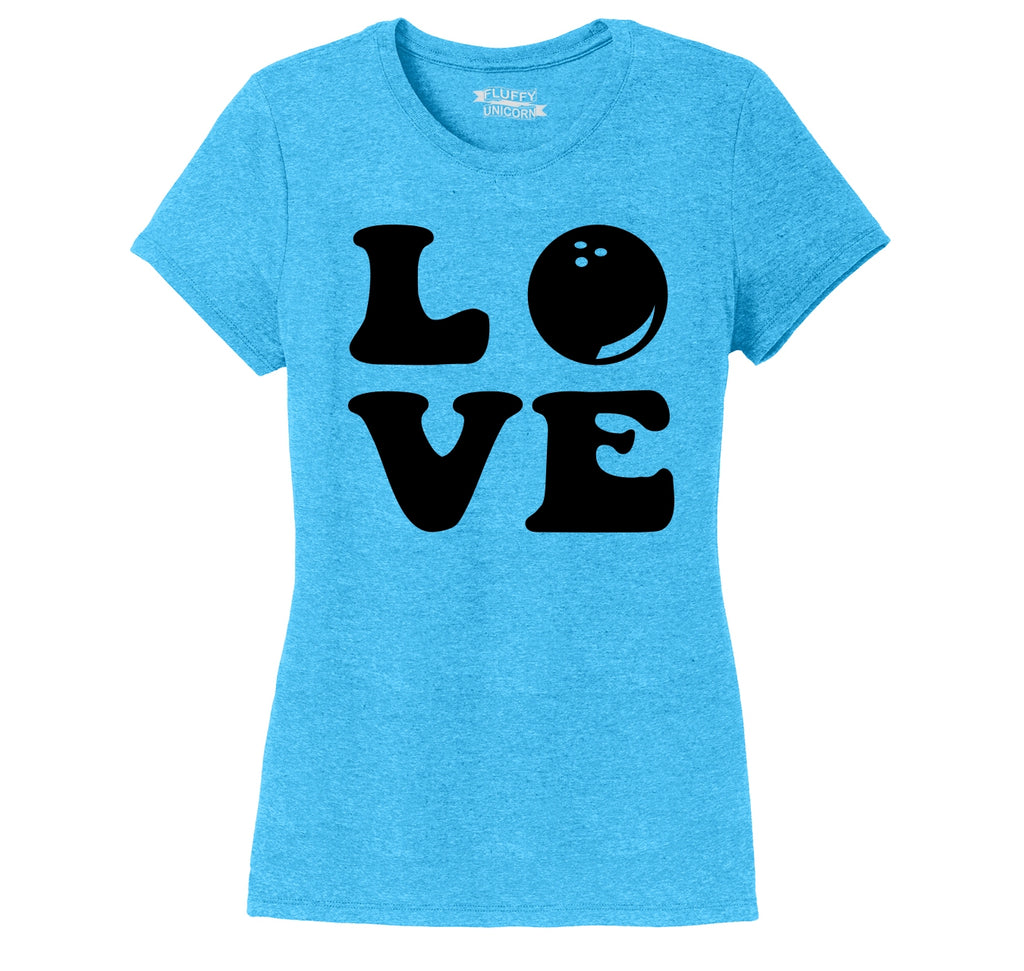 Love Bowling Big Print Ladies Short Sleeve Tri-Blend Shirt