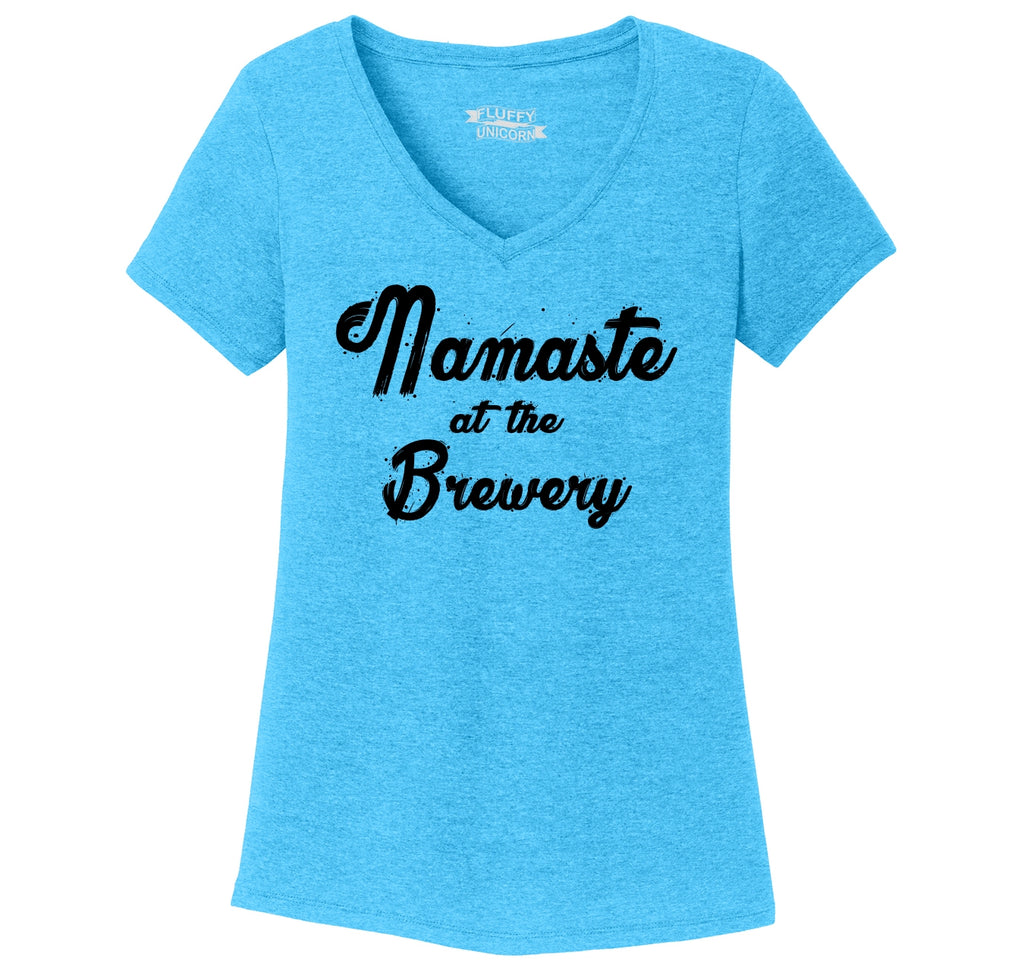 Namaste At The Brewery Ladies Tri-Blend V-Neck Tee Shirt