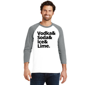 Vodka Soda Ice And Lime Mens Tri-Blend 3/4 Sleeve Raglan