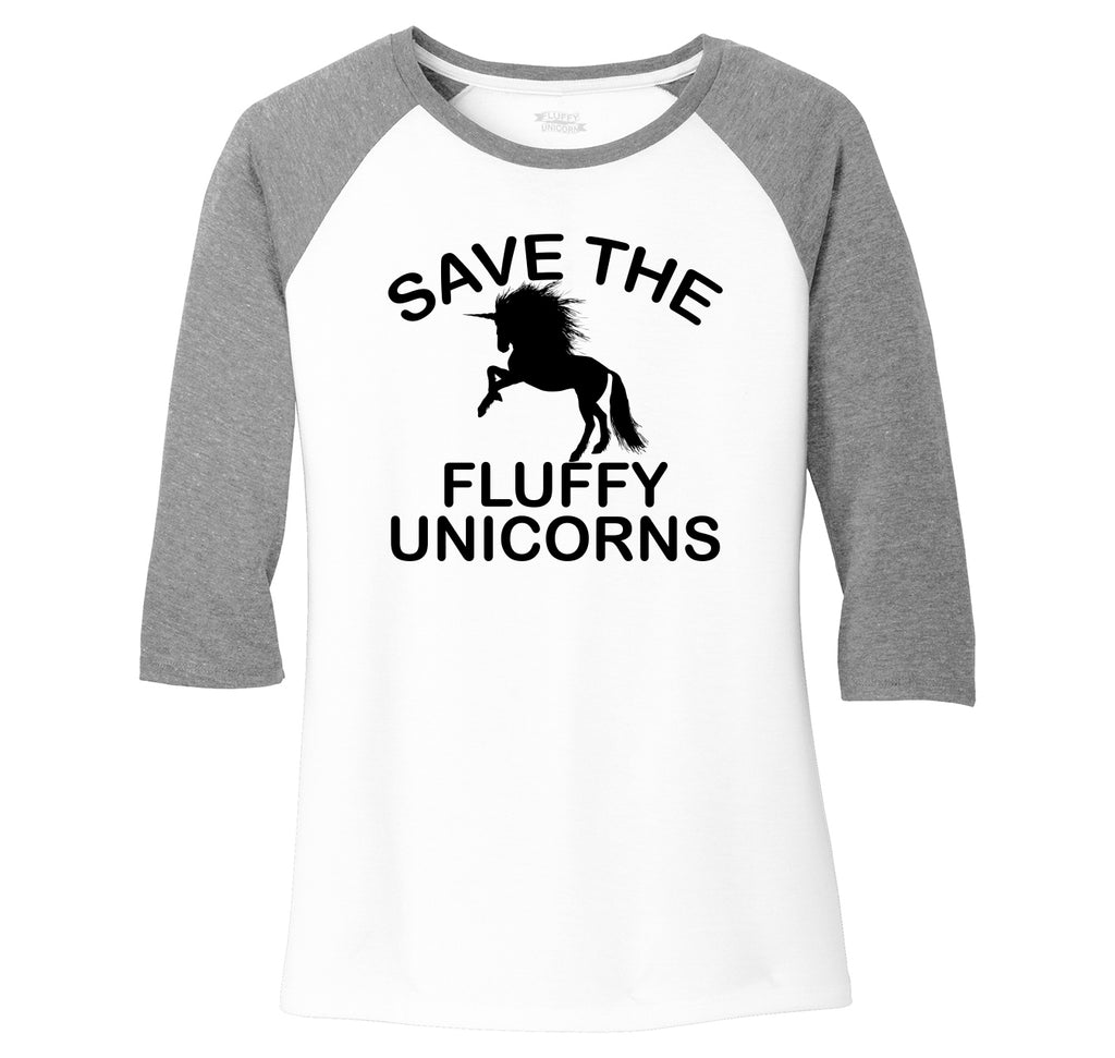 Save The Fluffy Unicorns Ladies Tri-Blend 3/4 Sleeve Raglan