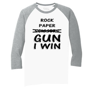 Rock Paper Scissors GUN I win  Mens Tri-Blend 3/4 Sleeve Raglan