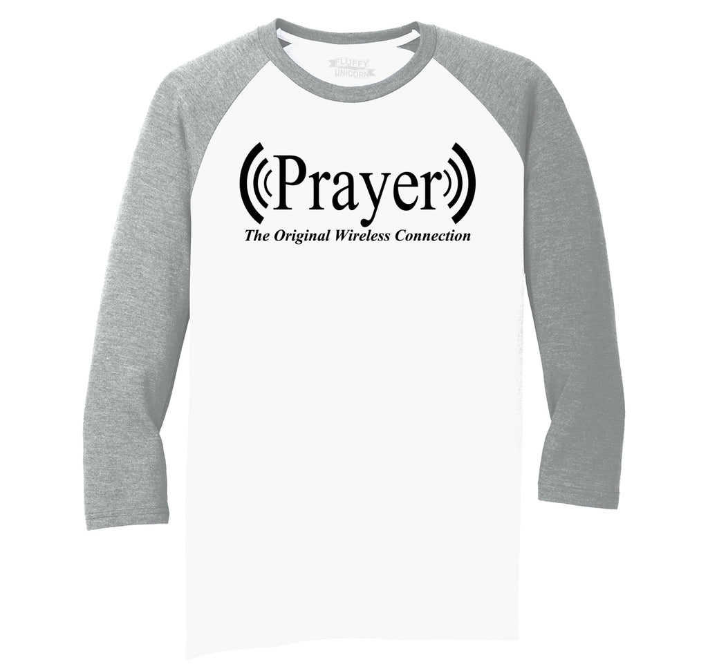 Prayer The Original Wireless Connection Mens Tri-Blend 3/4 Sleeve Raglan