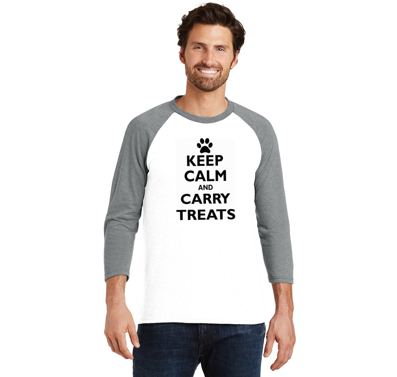 Keep Calm and Carry Treats Mens Tri-Blend 3/4 Sleeve Raglan