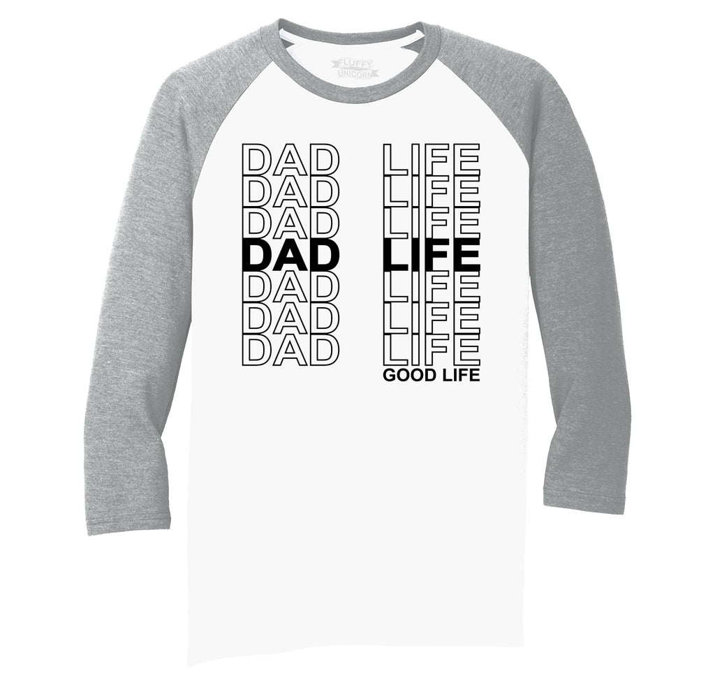 Dad Life Mens Tri-Blend 3/4 Sleeve Raglan