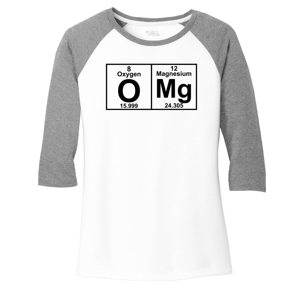 OMG Periodic Table Of Elements Ladies Tri-Blend 3/4 Sleeve Raglan
