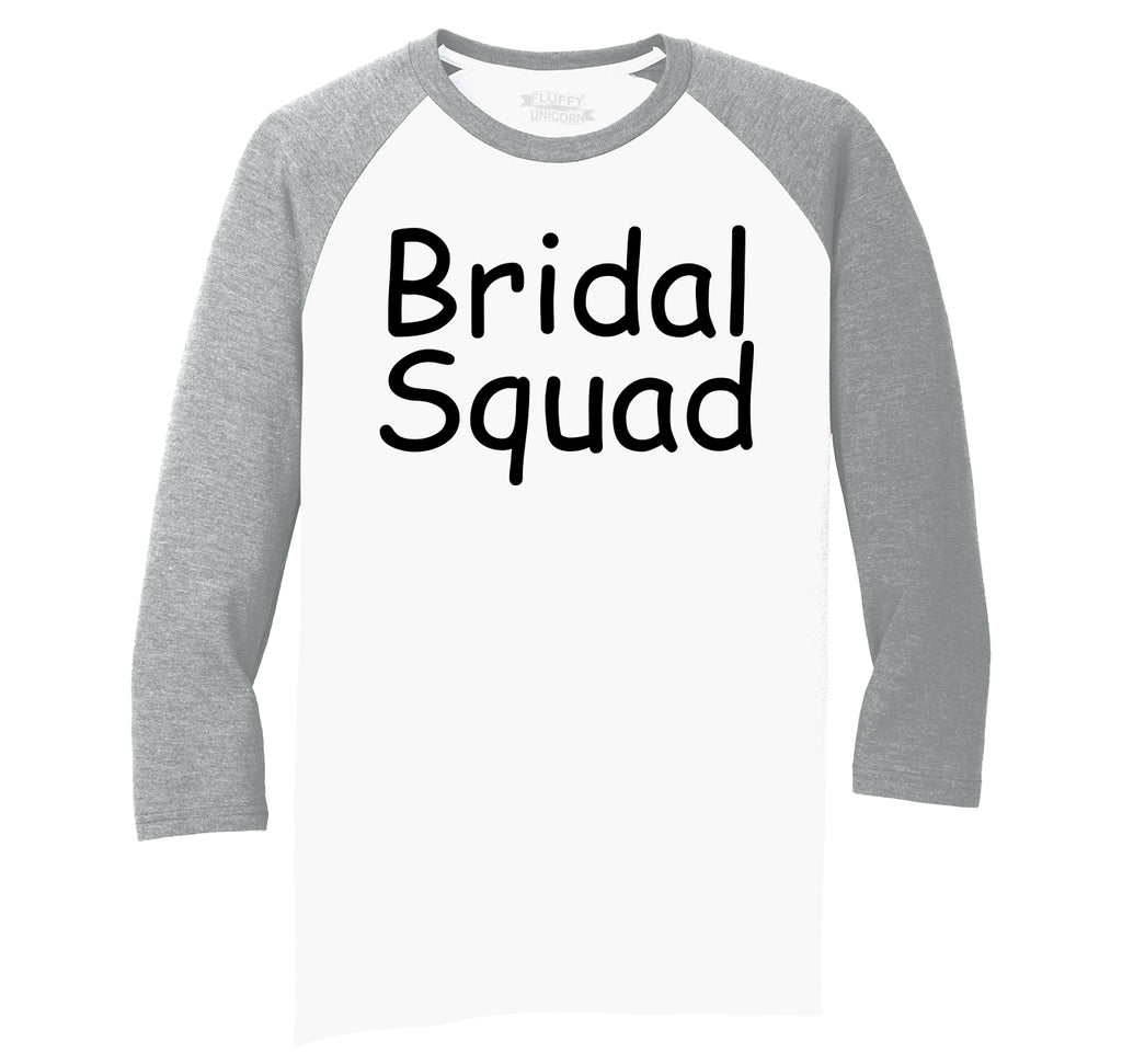 Bridal Squad Mens Tri-Blend 3/4 Sleeve Raglan