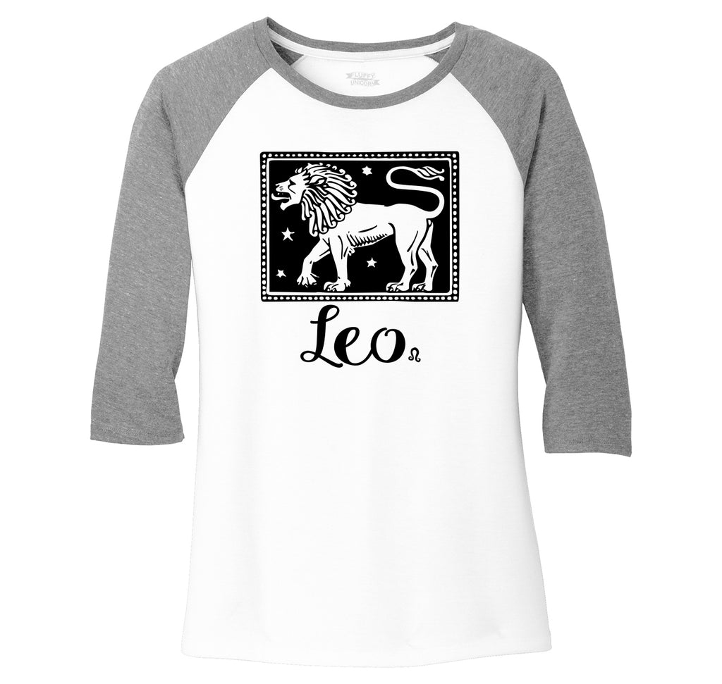 Horoscope Leo Ladies Tri-Blend 3/4 Sleeve Raglan