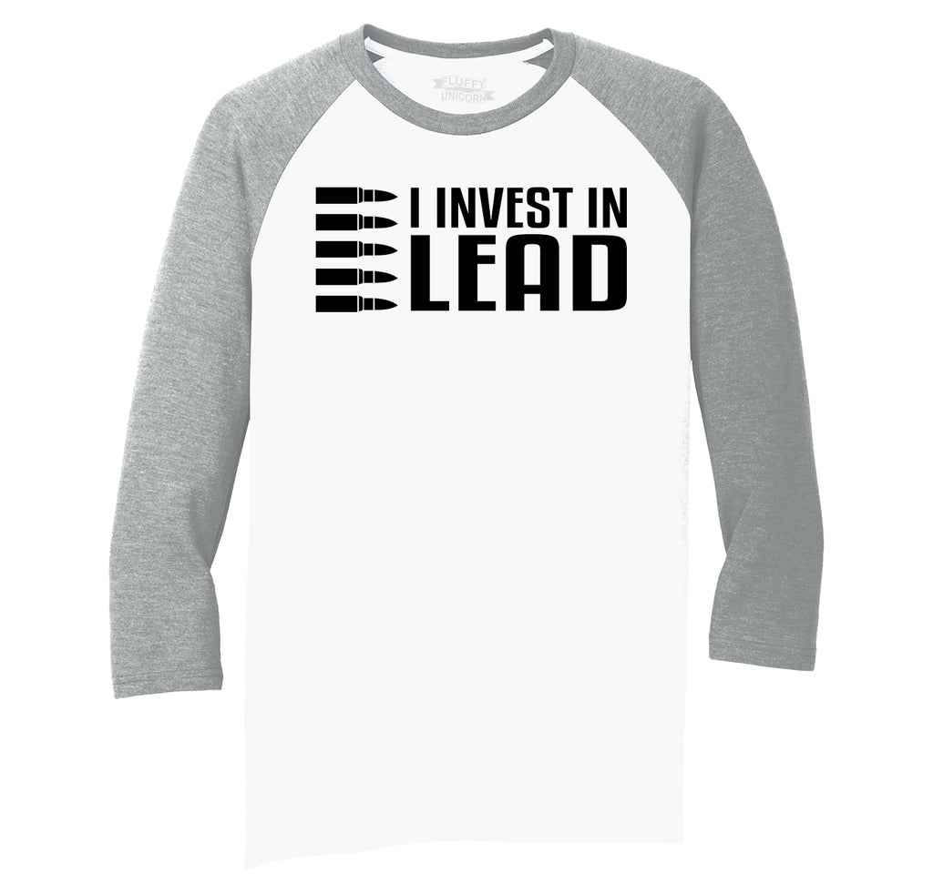 I Invest In Lead Mens Tri-Blend 3/4 Sleeve Raglan