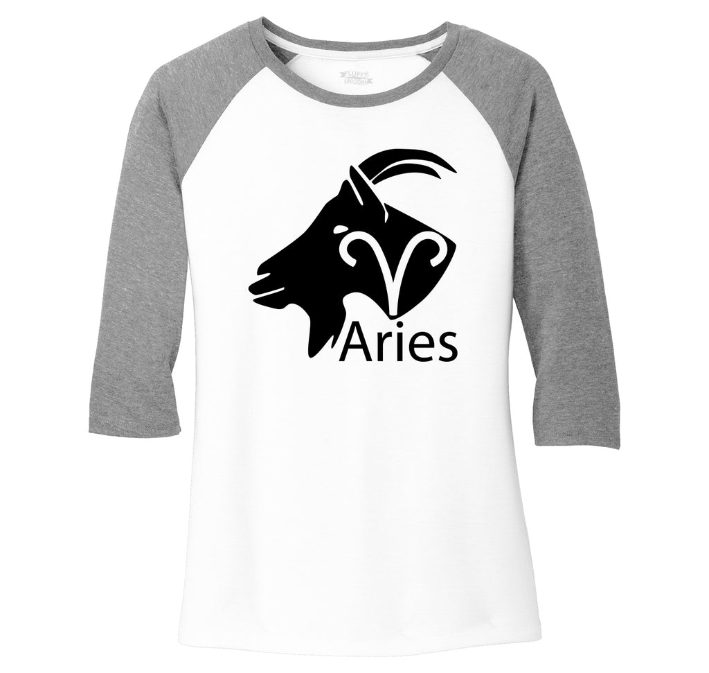 Aries Horoscope Shirt, March April Birthday Gift Tee Ladies Tri-Blend 3/4 Sleeve Raglan