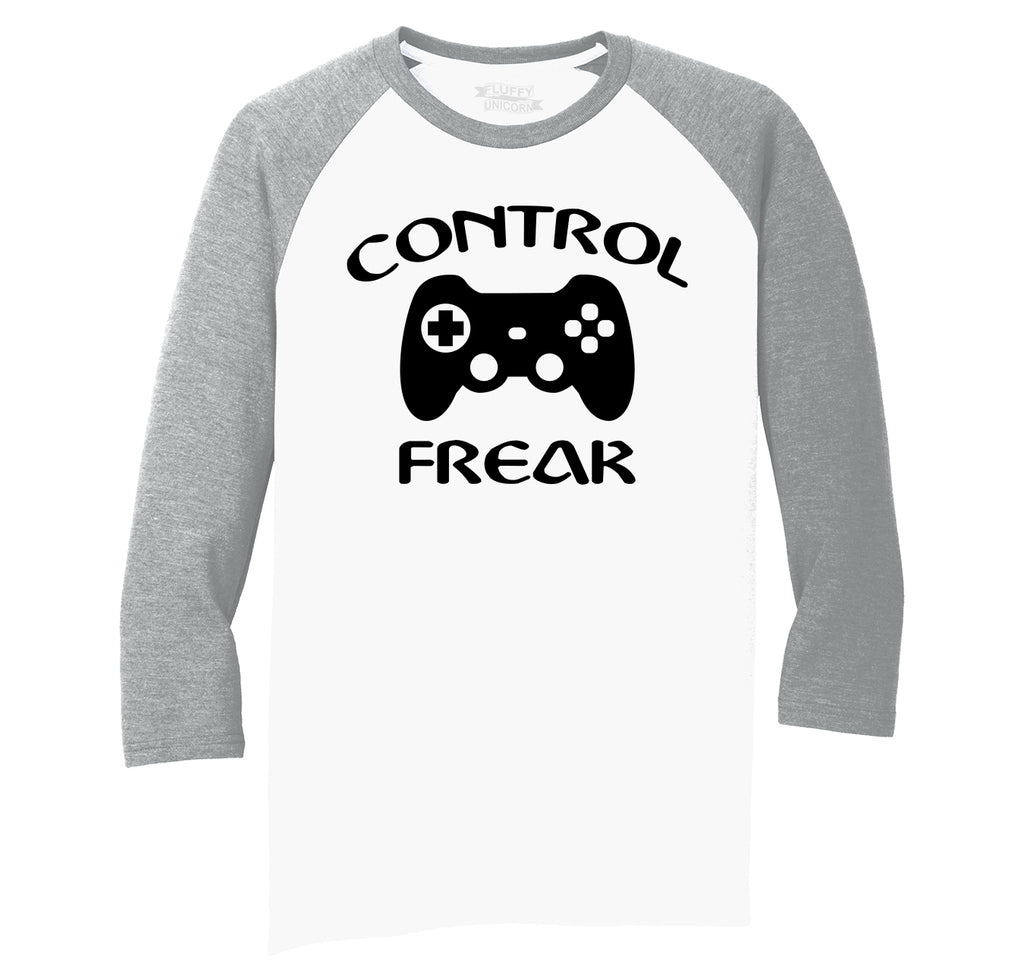 Control Freak Funny Gamer Tee Video Games Valentines Day Gift Tee Mens Tri-Blend 3/4 Sleeve Raglan