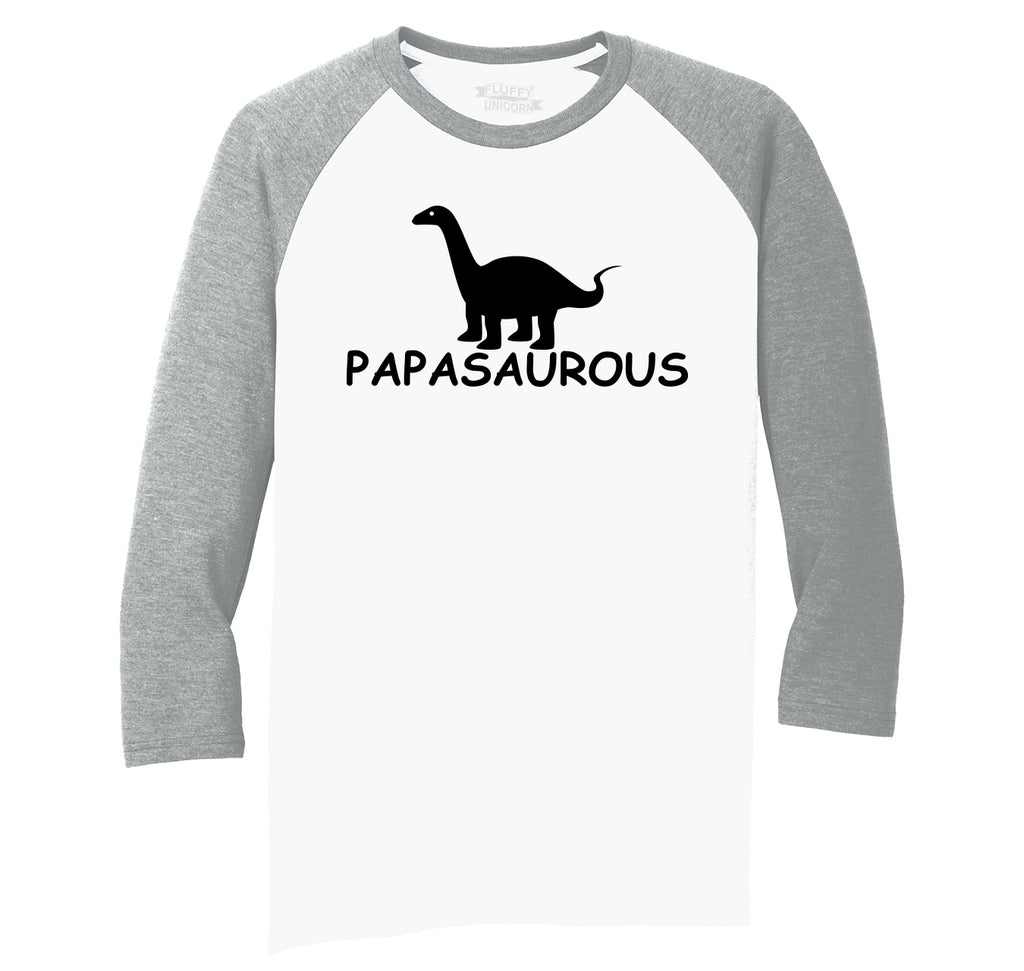 Papasaurous Tee Funny Fathers Day Dad Gift Dinosaur Tee Mens Tri-Blend 3/4 Sleeve Raglan