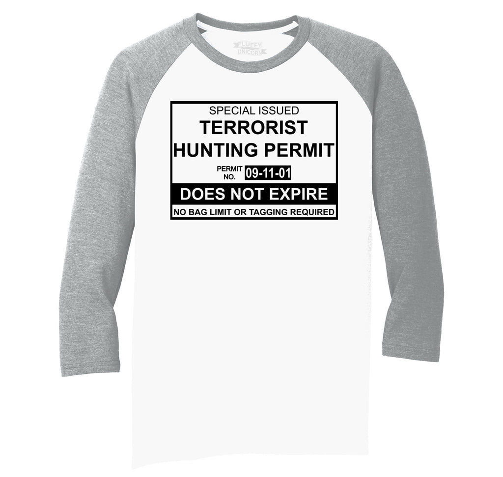 Terrorist Hunting Permit No Bagging Or Limit Funny Anti Islam Shirt Mens Tri-Blend 3/4 Sleeve Raglan