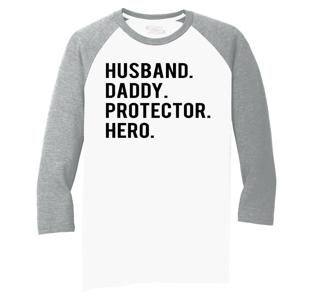 Husband Daddy Protector Hero Mens Tri-Blend 3/4 Sleeve Raglan