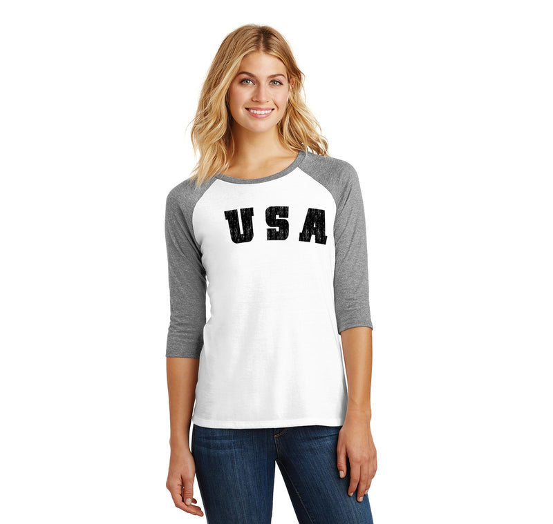 Distressed USA T Shirt American Pride Patriotic Home Gift Tee Ladies Tri-Blend 3/4 Sleeve Raglan