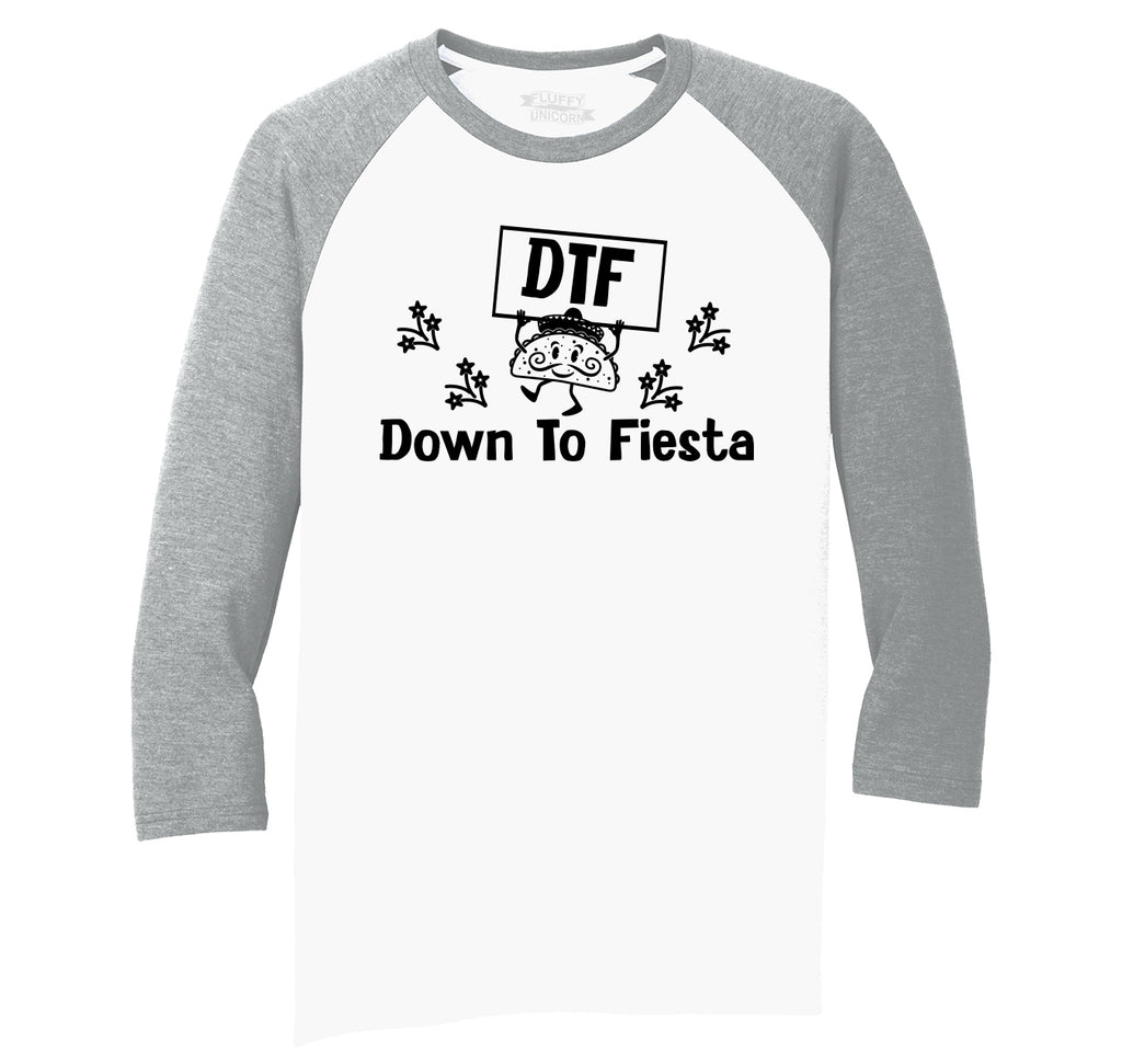 DTF Down To Fiesta Mexican Party Mens Tri-Blend 3/4 Sleeve Raglan