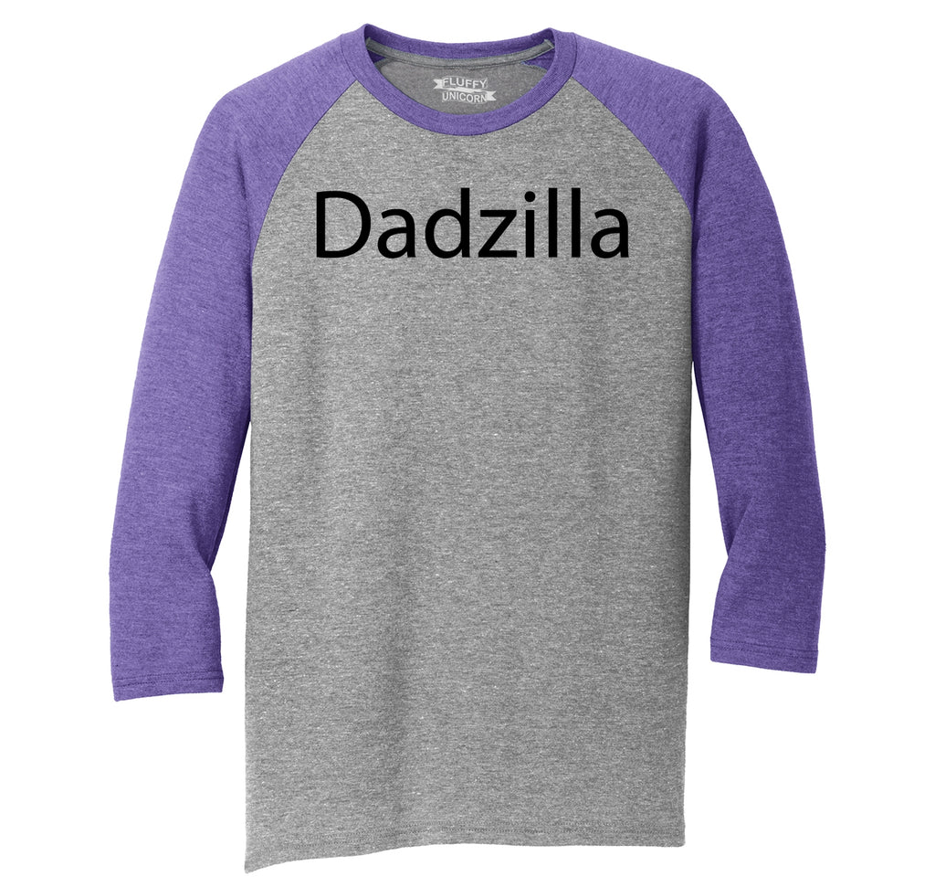 Dadzilla Tee Father's Day Valentine's Day Husband Dad Gift Tee Mens Tri-Blend 3/4 Sleeve Raglan