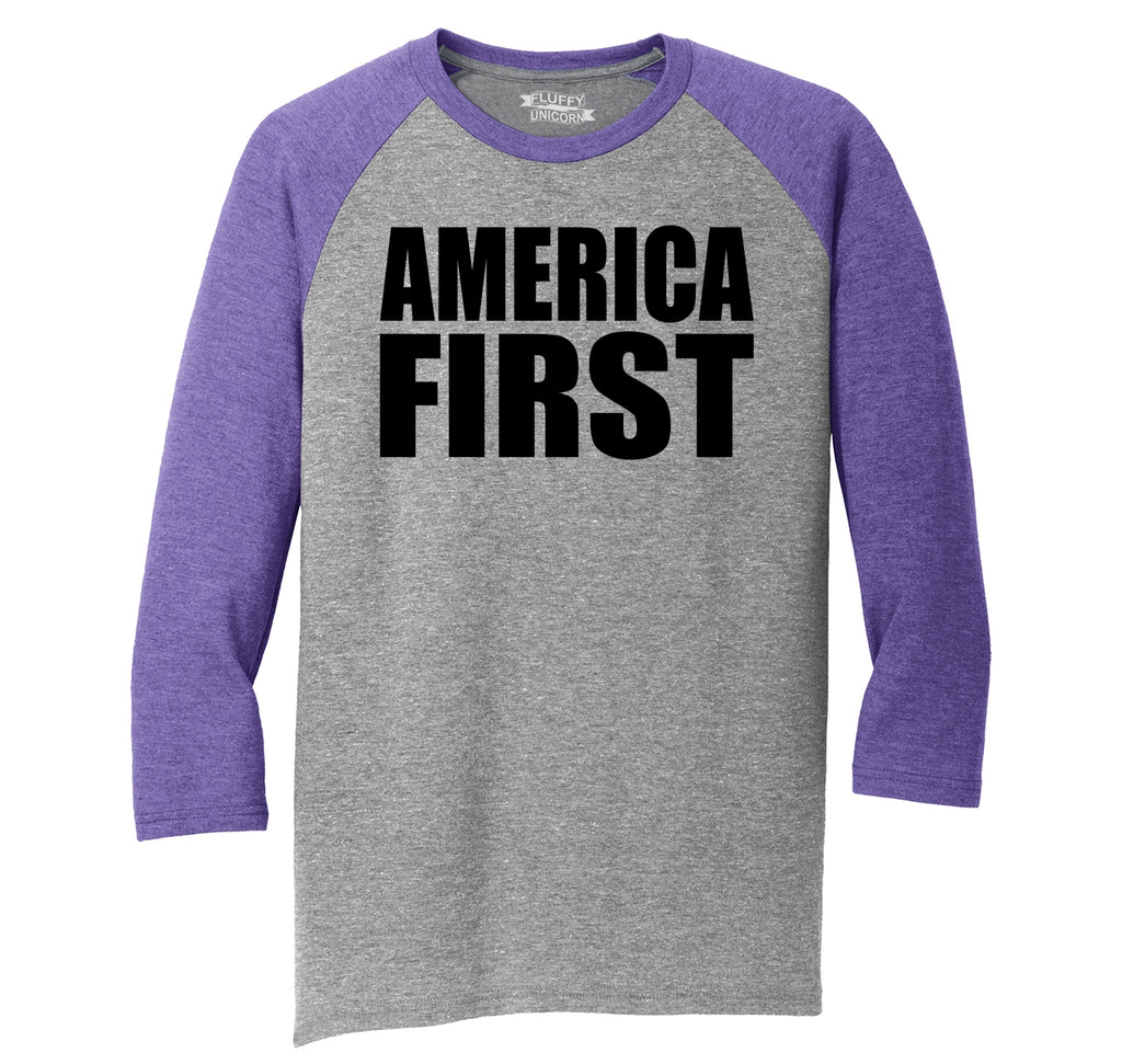 America First Tee President Donald Trump Political USA Patriotic Tee Mens Tri-Blend 3/4 Sleeve Raglan