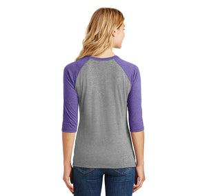 Naughty Nice Ish Ladies Tri-Blend 3/4 Sleeve Raglan