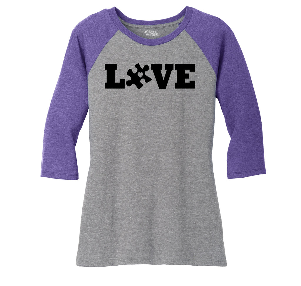 Love Autism Awareness Tee Ladies Tri-Blend 3/4 Sleeve Raglan