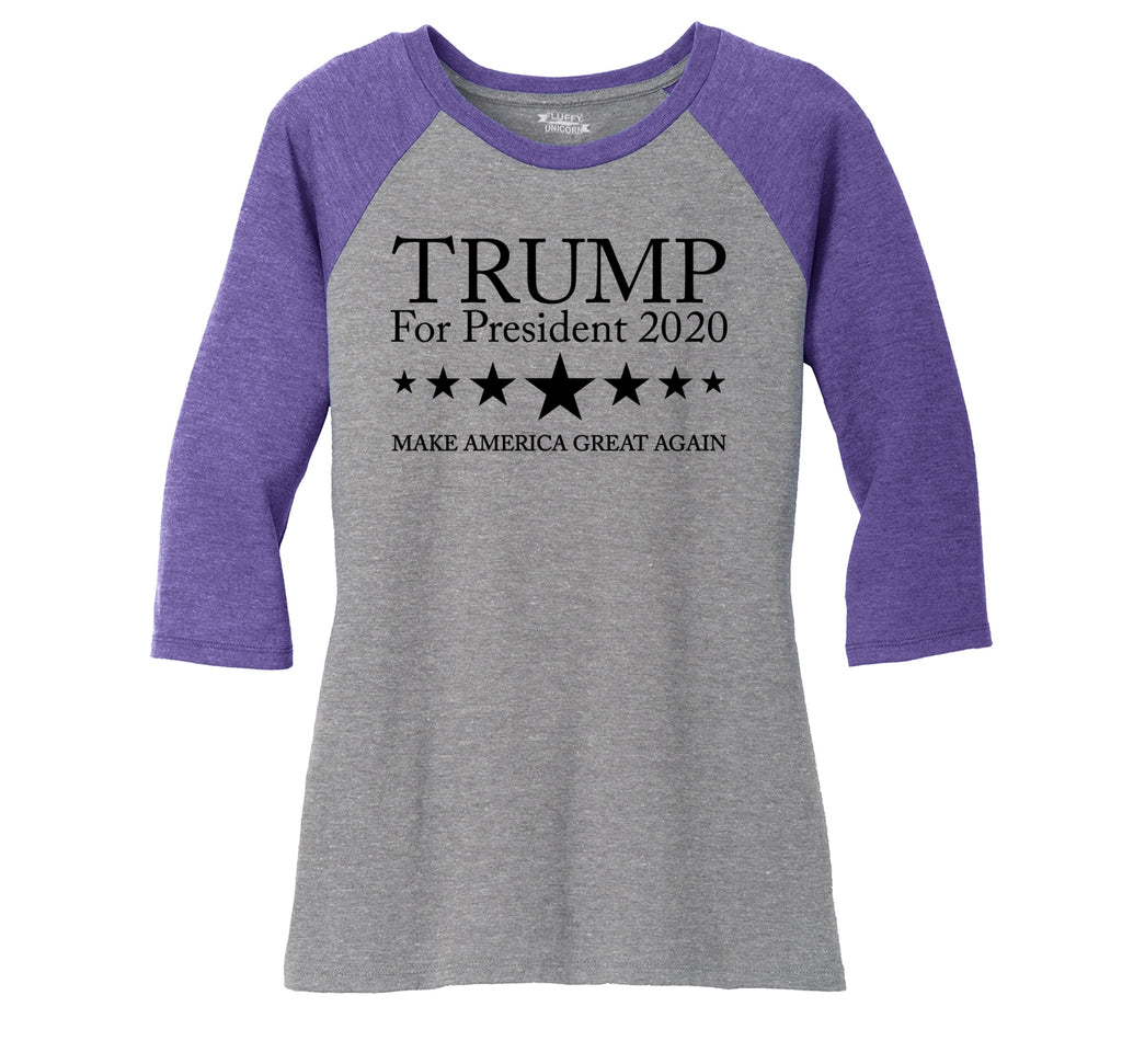 Trump For President 2020 Ladies Tri-Blend 3/4 Sleeve Raglan