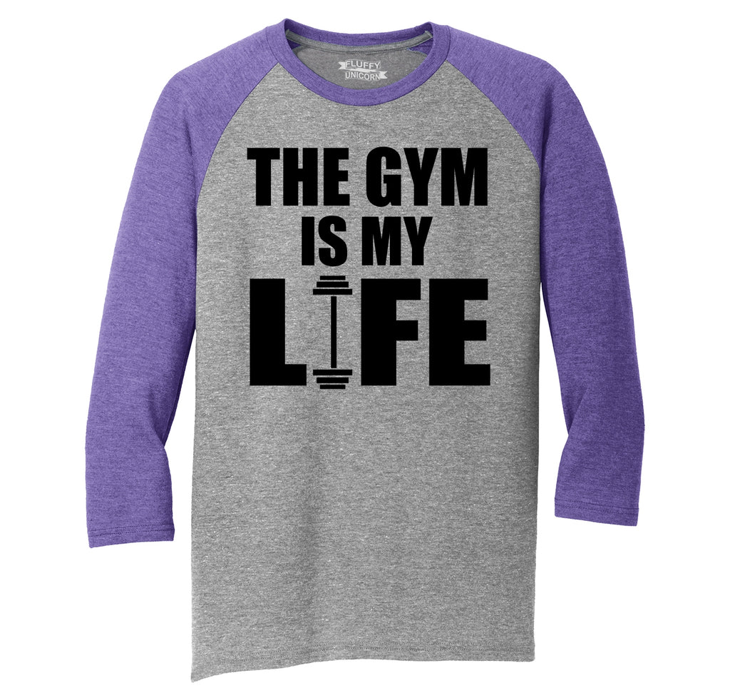 The Gym Is My Life Funny Workout Gym Trainer Gift Shirt Mens Tri-Blend 3/4 Sleeve Raglan