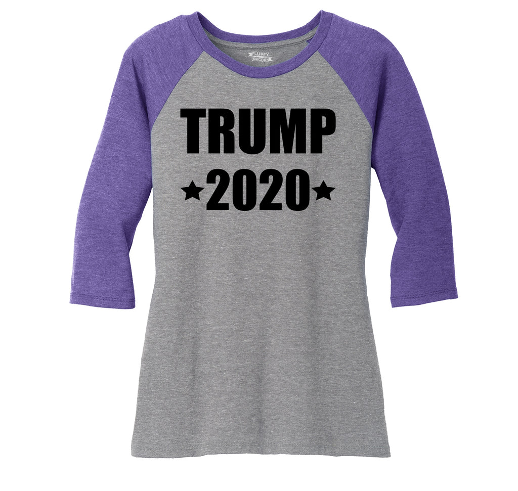 Trump 2020 Ladies Tri-Blend 3/4 Sleeve Raglan