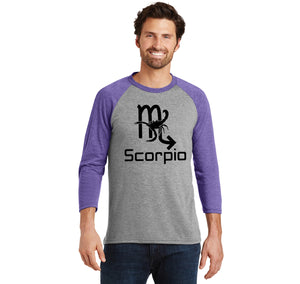 Scorpio Horoscope Birthday Gift Mens Tri-Blend 3/4 Sleeve Raglan