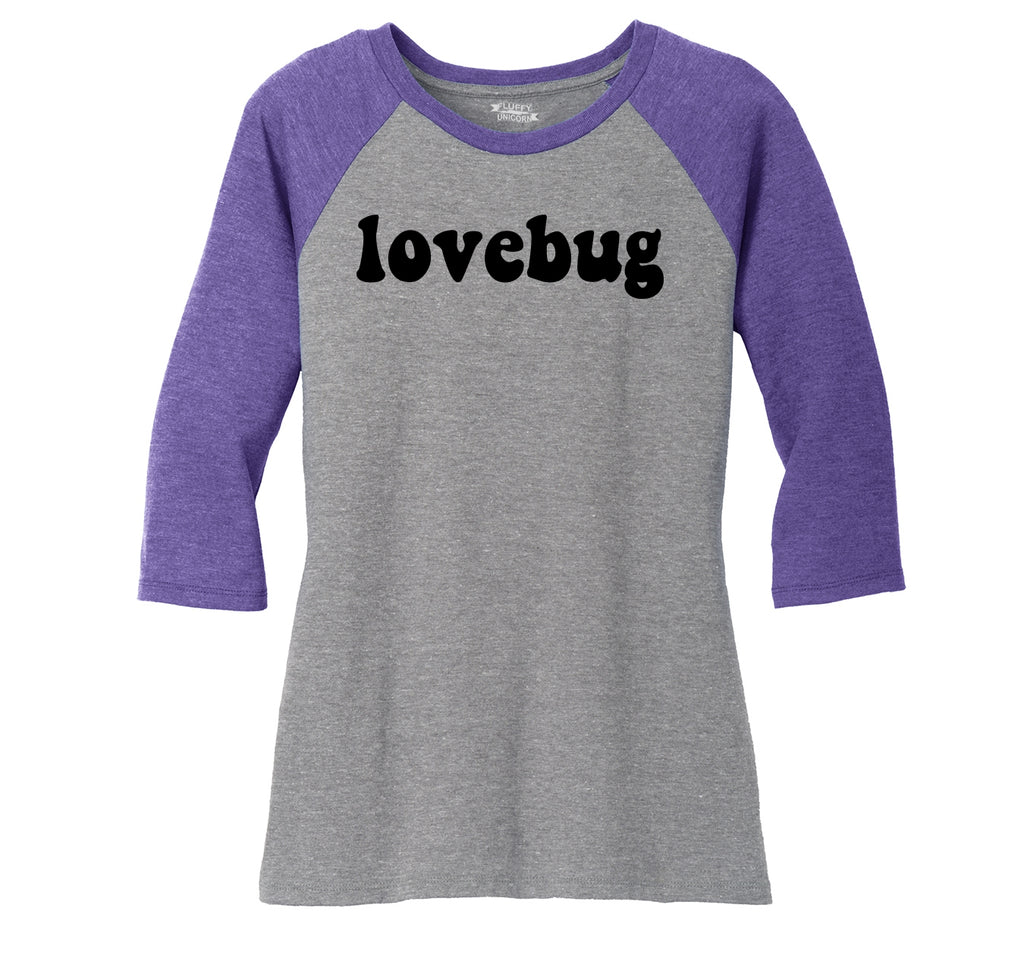 Lovebug Ladies Tri-Blend 3/4 Sleeve Raglan
