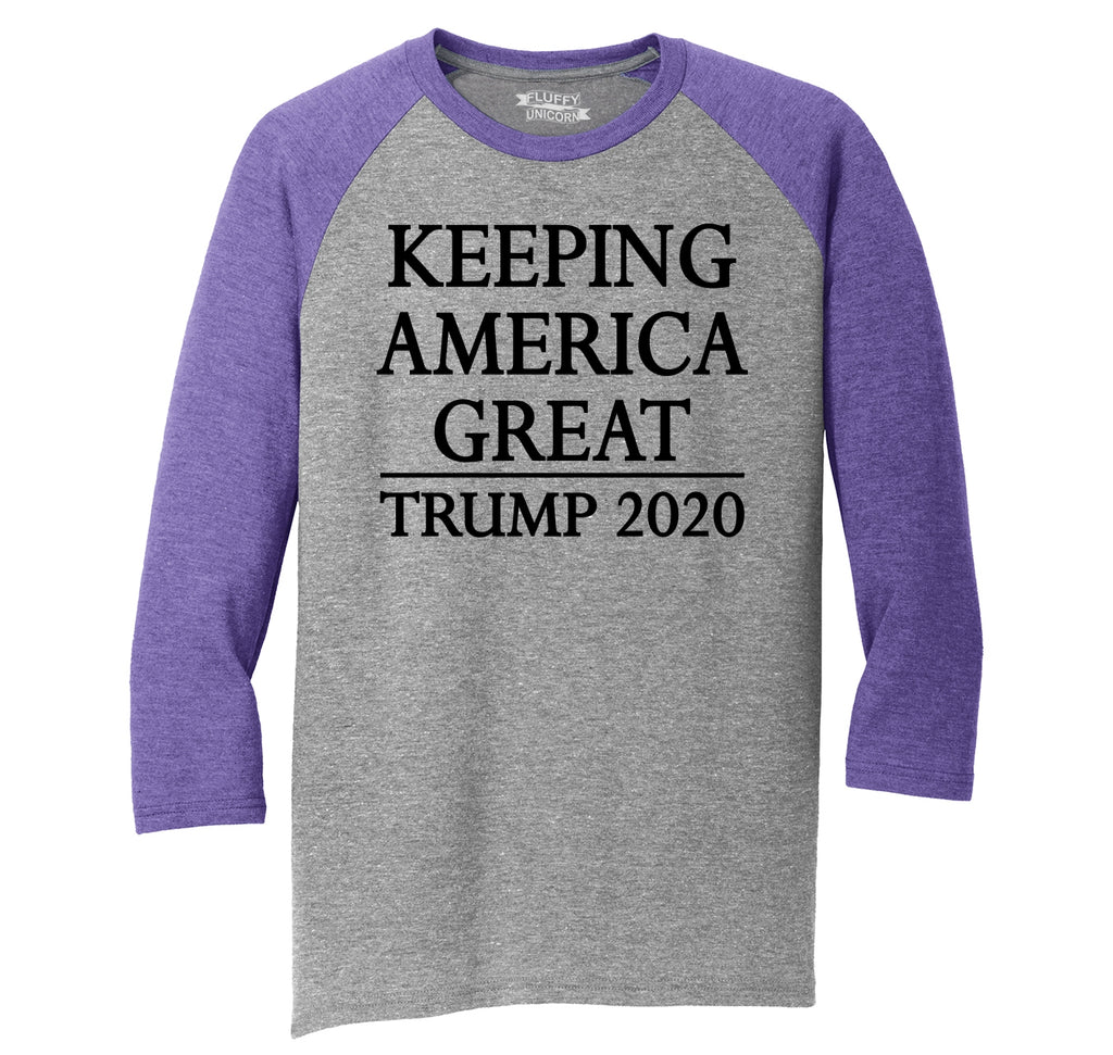 Keeping America Great Trump 2020 Mens Tri-Blend 3/4 Sleeve Raglan