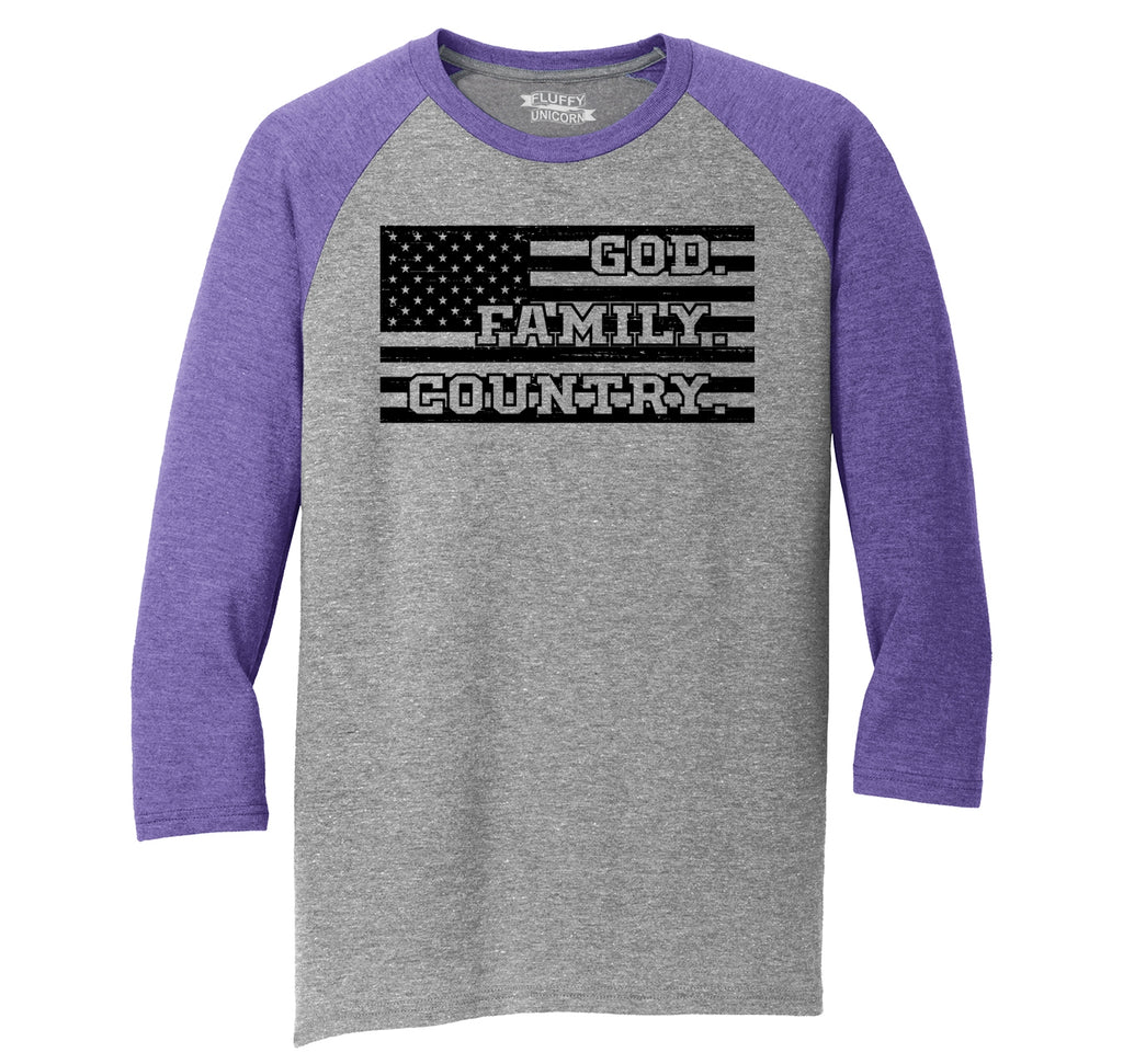 God Country Family Mens Tri-Blend 3/4 Sleeve Raglan