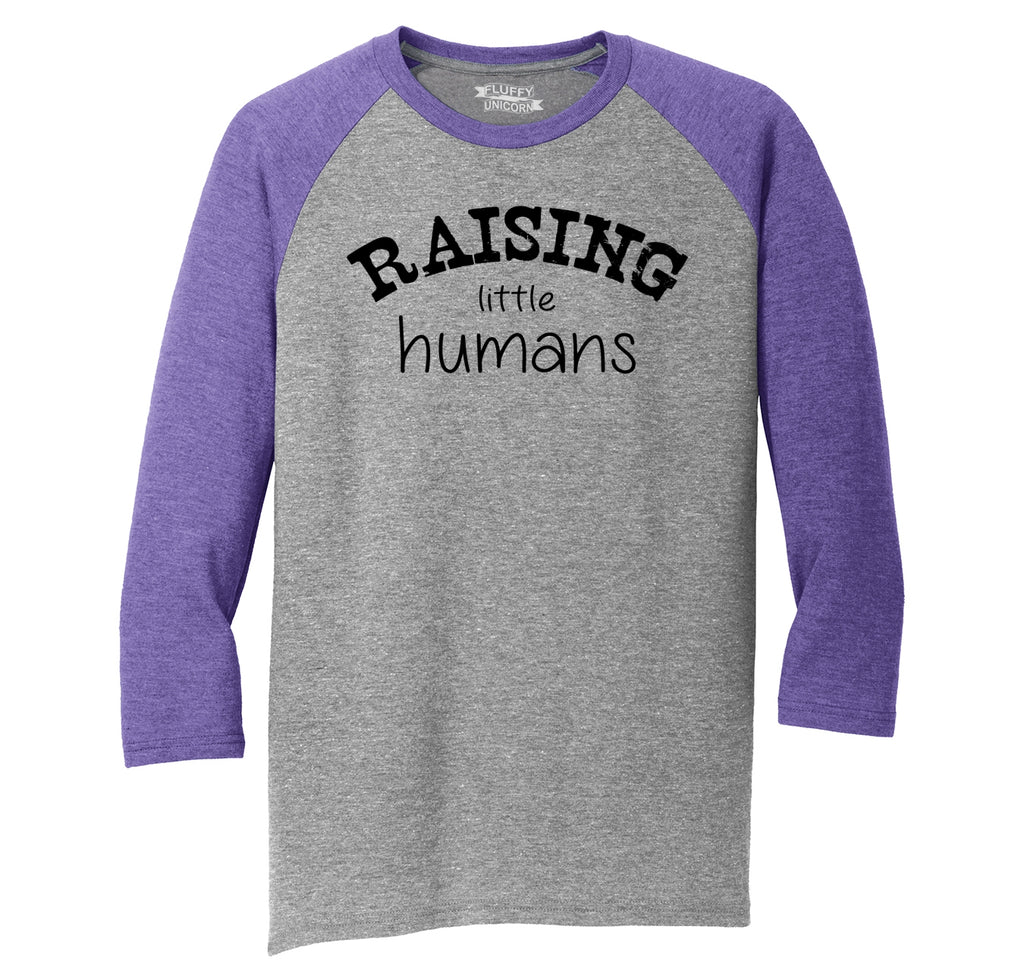 Raising Little Humans Mens Tri-Blend 3/4 Sleeve Raglan